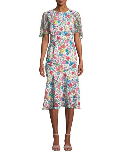 Sabrina Floral-Print Midi Dress