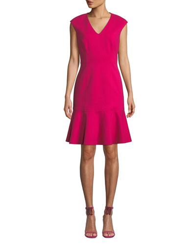 Kadisha V-Neck Flounce Dress