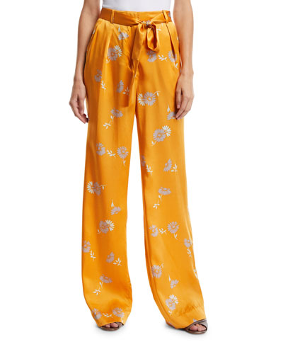 Evonne Straight-Leg Floral-Print Belted Silk Trousers