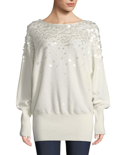 Cashmere Dolman-Sleeve Sweater with Paillettes