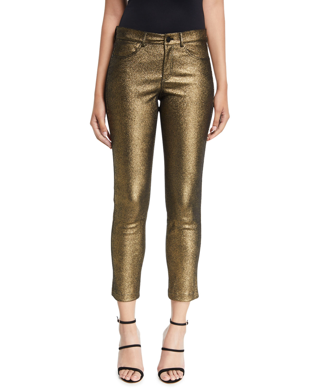 Mercer Cropped Metallic Leather Skinny Pants in Gold