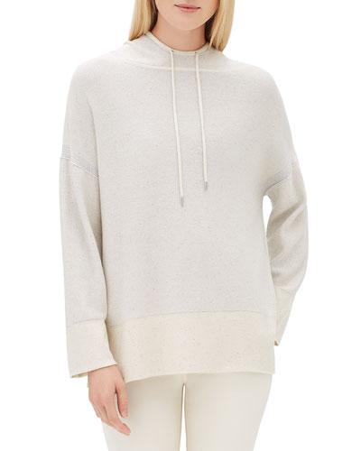 Sequin Long-Sleeve Luxe Silk Pullover Hoodie