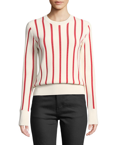 Amrit Crewneck Long-Sleeve Striped Rib-Knit Sweater