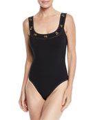 Karla Colletto Lauren Button-Trim Underwire One-Piece Swimsuit