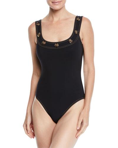 Lauren Button-Trim Underwire One-Piece Swimsuit