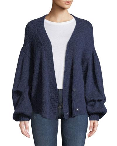 Amari Blouson-Sleeve Wool-Mohair Cardigan