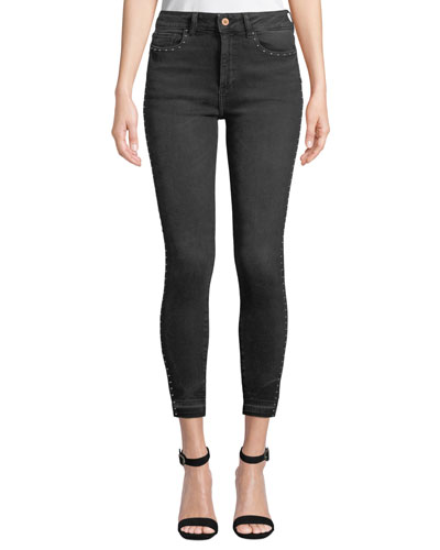 Chrissy Studded High-Rise Ankle Skinny Jeans
