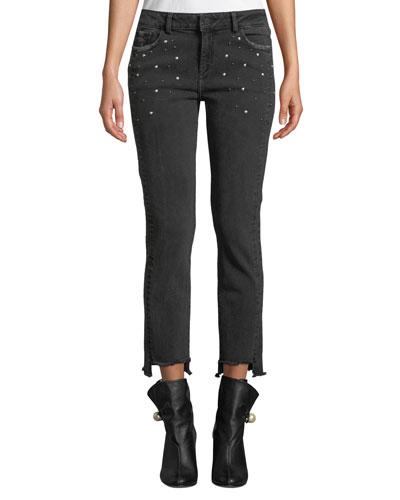 Mara Studded Step-Hem Ankle Skinny Jeans