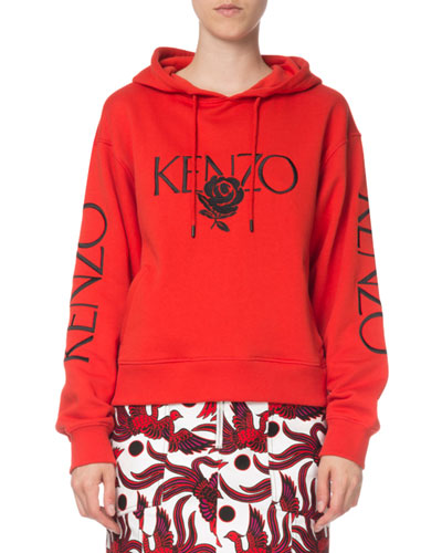 Bold Embroidered Rose Logo Hoodie