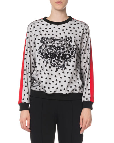 Embellished Dot-Print Tiger Logo Sweater