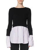 Kenzo 2-in-1 Layered Shirting Button-Back Top