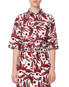 Kenzo Cropped Phoenix-Print Short-Sleeve Top and Matching Items