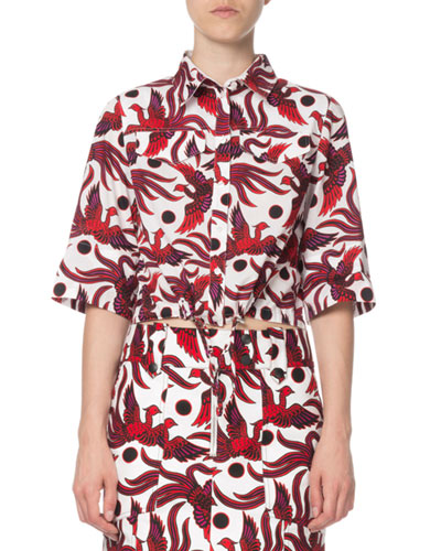 Cropped Phoenix-Print Short-Sleeve Top