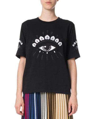 Eye Logo Cotton Crewneck T-Shirt