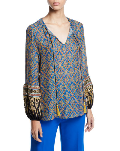 Sofia Long-Sleeve Tie-Neck Blouse