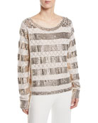 Kobi Halperin Melita Sequin-Stripe Sweater