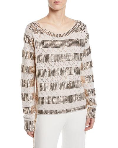 Melita Sequin-Stripe Sweater