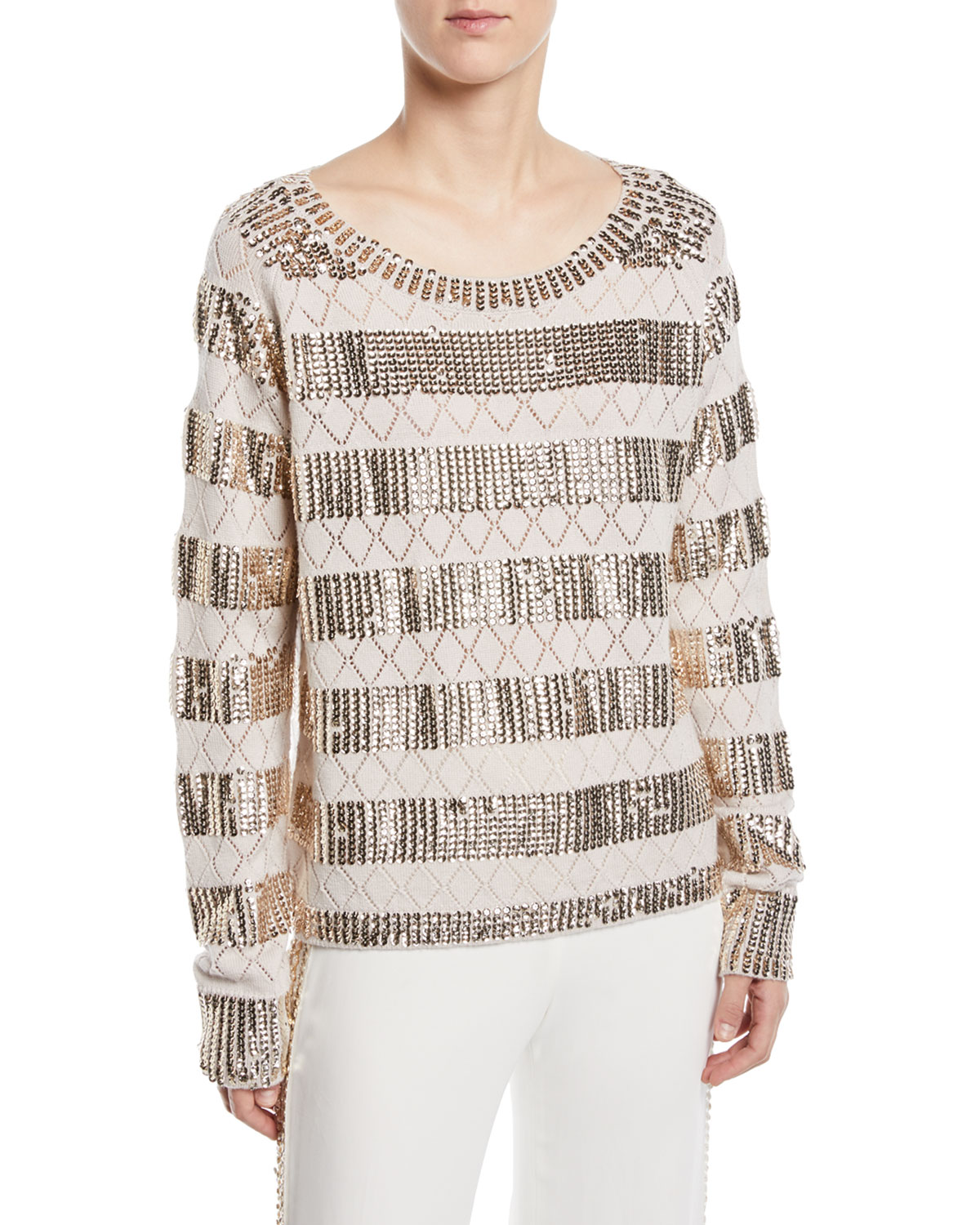 Melita Sequined Pointelle Sweater, Macrame