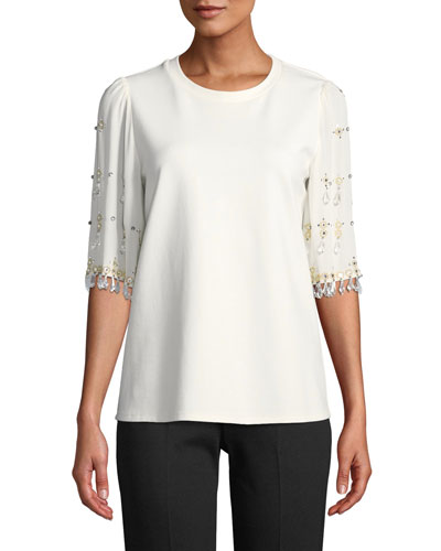 Daria Blouse with Embellished Sleeves