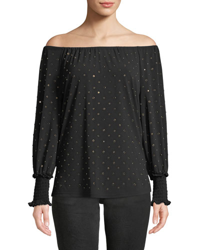 Lauren Studded Off-the-Shoulder Blouse