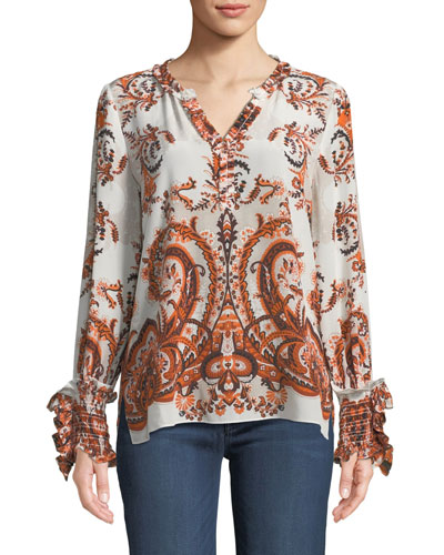 Rita Ruffle-Trim Silk Blouse
