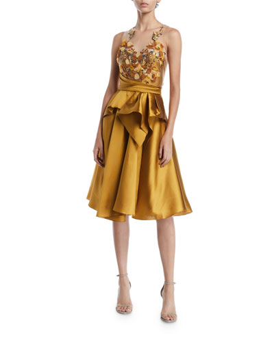 Halter Illusion & Embroidered Bodice Dress
