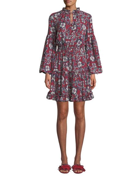 Shoshanna Moravia Floral Long-Sleeve Shirt Dress
