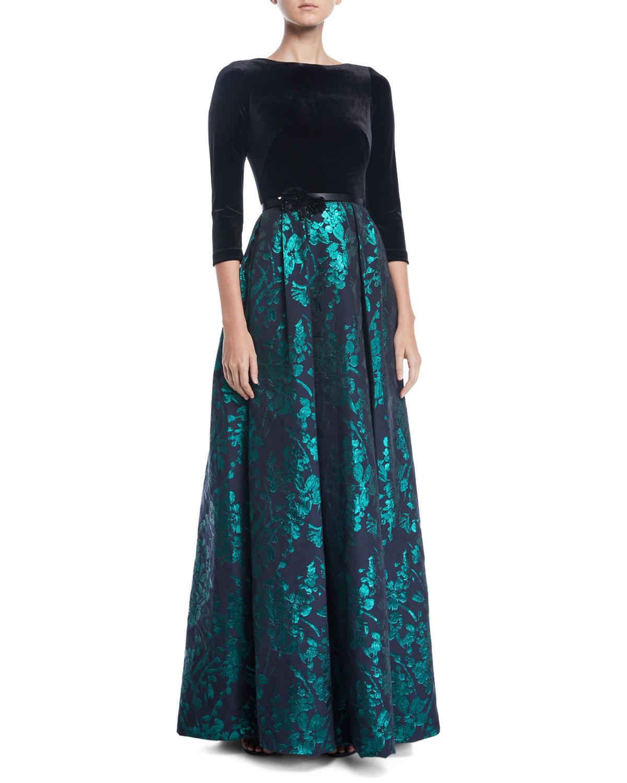 Velvet & Emerald Brocade Ball Gown