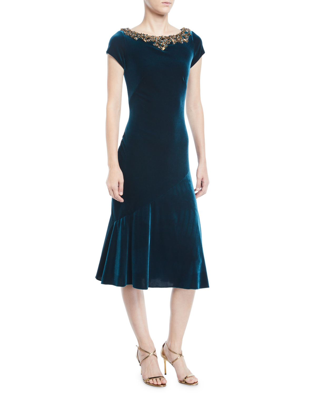 Velvet Beaded-Neck Short-Sleeve Dress