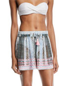Ramy Brook Irina Embroidered Coverup Shorts