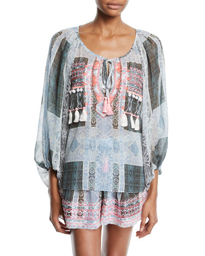 Myra Embroidered Coverup Blouse with Tassels