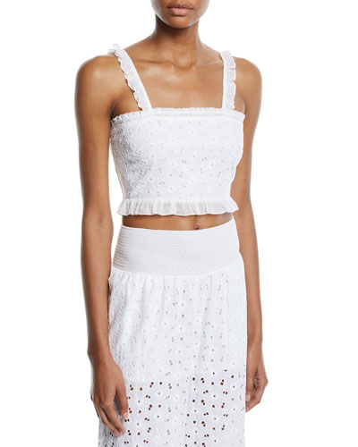 Romy Smocked Ruffle Eyelet Crop Top