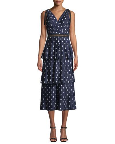 Tiered Star-Print Crepe de Chine Midi Dress