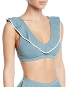 Marysia Piana V-Neck Ruffle Triangle Bikini Top