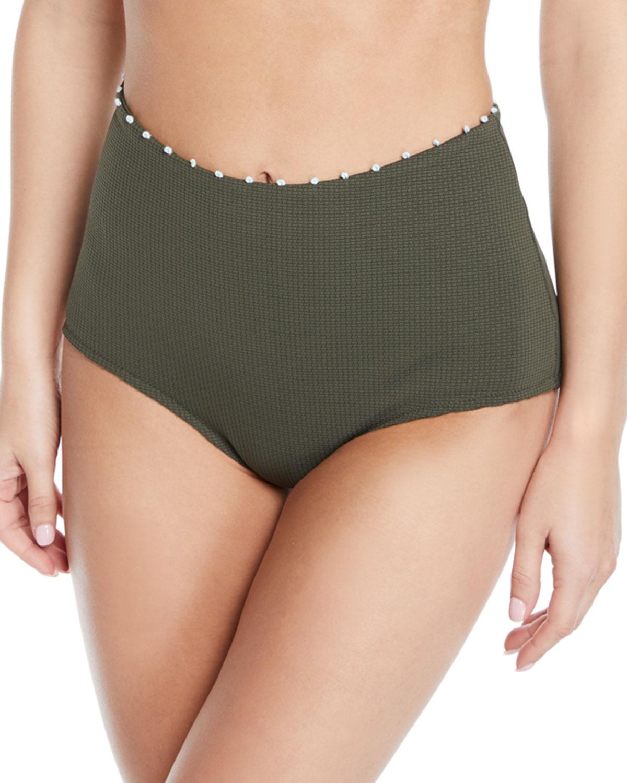 MARYSIA Corsica High-Waisted Bikini Bottom in Green