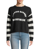 MOTHER The Boxy Jumper Striped Graphic Pullover Sweater