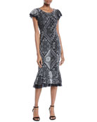 Fuzzi Stampa Crochet Flutter-Trim Dress
