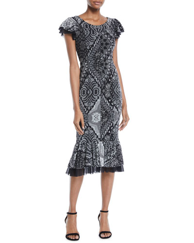 Stampa Crochet Flutter-Trim Dress