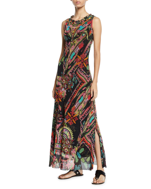 FUZZI Cross-Stitch Mirror Collage Embroidered Maxi Dress in Nero