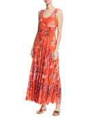 Fuzzi Botanical Tiered Tulle Maxi Dress