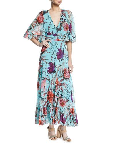Botanical Floral V-Neck Long Dress