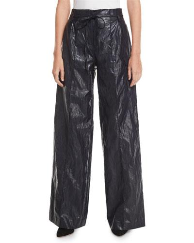 Eve High-Rise Crinkle Wide-Leg Pants