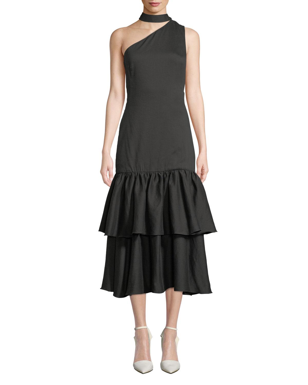 Lizzie One-Shoulder Tiered Flounce Dress