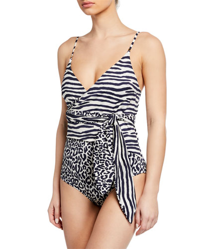 ffba5a40c2 Quick Look. Stella McCartney · Timeless Animal-Print Wrap One-Piece Swimsuit