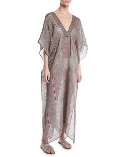 Pondicherie Vinita Striped Linen Coverup Caftan