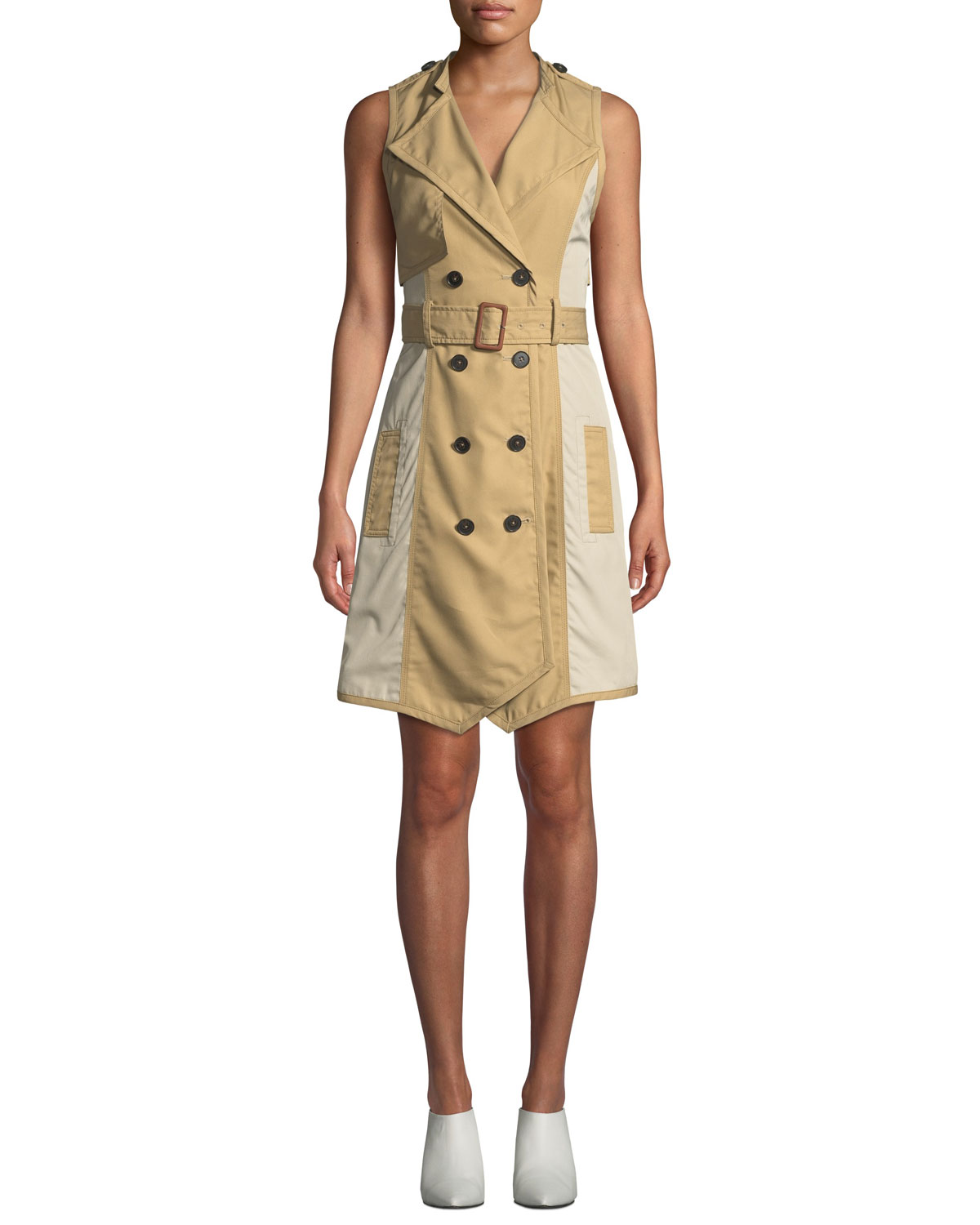 Sleeveless Belted Trench Dress in Khaki