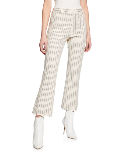 Striped Flare-Leg Cropped Trousers