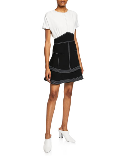 Two-Tone Short-Sleeve Tiered Dress