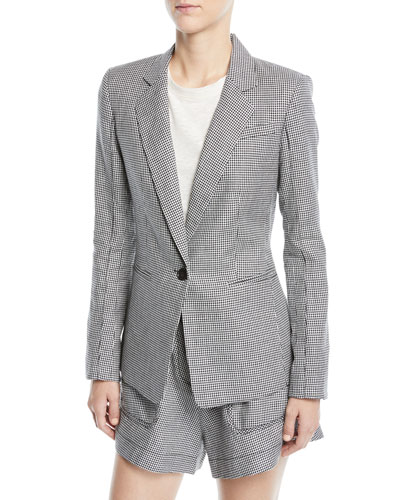 Single-Button Check Linen-Blend Blazer