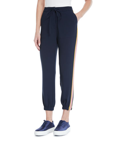 Drawstring Ankle Jogger Pants with Racer Stripes